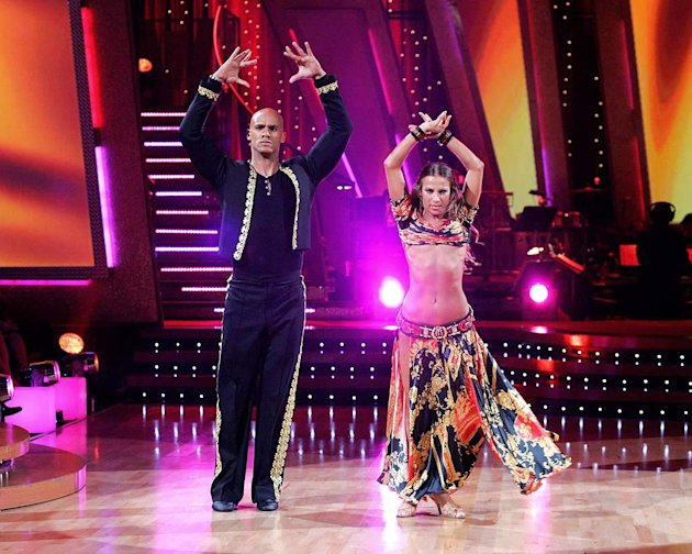 Jason Taylor and Edyta Sliwinska perform a dance on the sixth season of Dancing with the Stars.