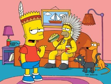 Bart (voiced by Nancy Cartwright) and Homer (voiced by Dan Castellaneta) join the Pre-Teen Braves in the episode 'Bart of War.'