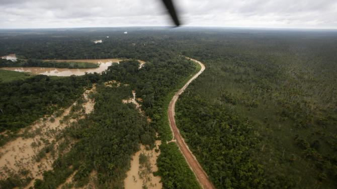 An aerial view of the flooded Acre river near Cobija, Pando Department, bordering Brazil