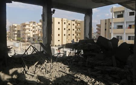 A view shows debris at a school following what activists said were U.S.-led air strikes against the Islamic State, in Raqqa