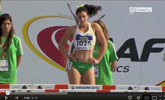 Australian hurdler Michelle Jenneke warming up. (YouTube screengrab)
