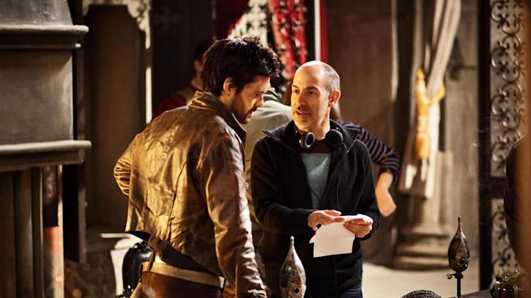 "This publicity image released by Starz shows actor Tom Riley, left, and creator David S. Goyer on the set of ""Da Vinci's Demons,"" premiering Friday, April 12 at 10 p.m. EST on Starz. (AP Photo/Starz Entertainment, LLC, Grace Cromey-Hawke)"