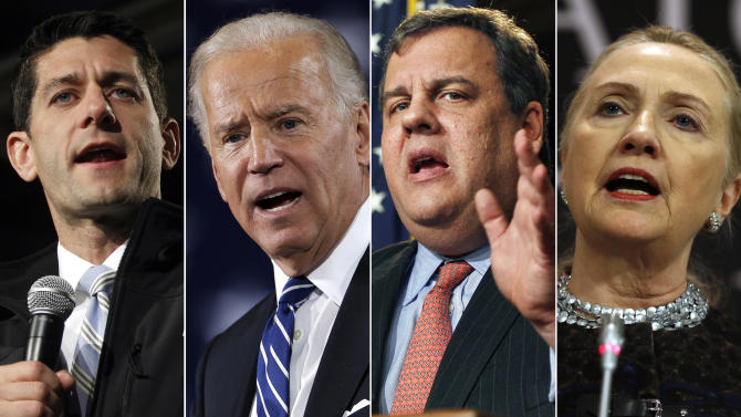 This combination made from file photos shows, from left, Rep. Paul Ryan, R-Wis., Vice President Joe Biden, New Jersey Gov. Chris Christie, and Secretary of State Hillary Rodham Clinton. While the next presidential primary voting is still three years away, the political implications of the actions and whereabouts of the potential field of 2016 candidates hung over a dramatic year-end period. (AP Photo)