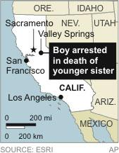 Map locates Valley Springs, California, where a 12-year-old is arrested in the stabbing of his sister
