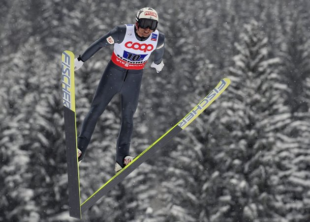 Austria's Stecher jumps in the Nordic Combined Team Gundersen competition at the Nordic Ski World Championships in the northern mountain resort of Predazzo in Val di Fiemme