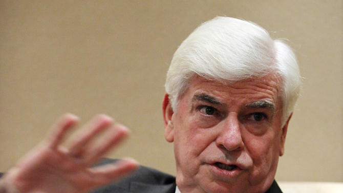 Former U.S. Sen. Chris Dodd, new chairman and CEO of the Motion Picture Association of America, speaks during an exclusive interview with the Associated Press Monday June 13, 2011 in Shanghai, China. Dodd attends the Shanghai International Film Festival. (AP Photo/Eugene Hoshiko)