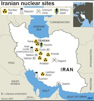 A map of Iran locating Ardakan, Sagand and other known nuclear sites