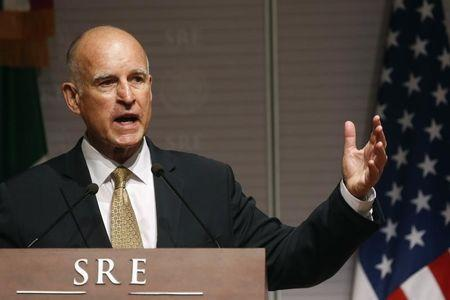 California Governor Jerry Brown speaks during a news conference at Memoria y Tolerancia museum in Mexico City