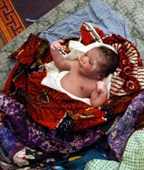 The deserted infant. Photo via Ghana News Agency.