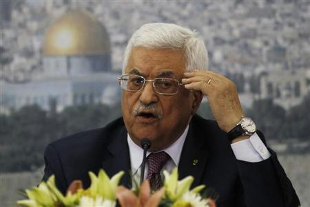 Palestinian President Abbas speaks during a meeting with Israeli students in Ramallah