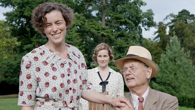 """FILE - This undated publicity film image released by Focus Features shows, from left, Olivia Williams as Eleanor Roosevelt, Laura Linney as Daisy, and Bill Murray as Franklin D. Roosevelt in a scene from """"Hyde Park on Hudson."""" (AP Photo/Focus Features, Nicola Dove, File)"""