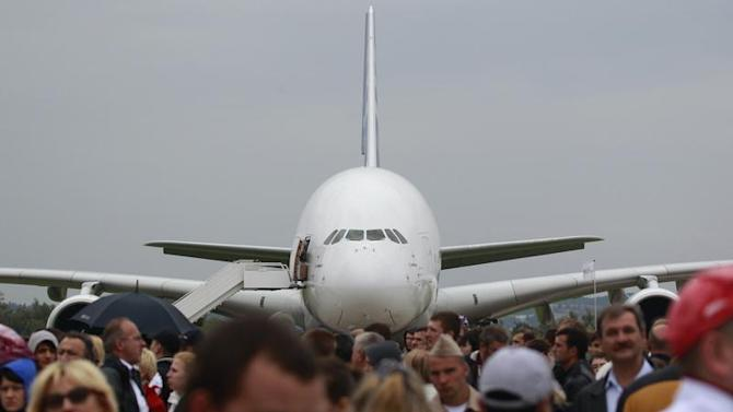 An Airbus A380 plane is seen on display at the MAKS International Aviation and Space Salon in Zhukovsky