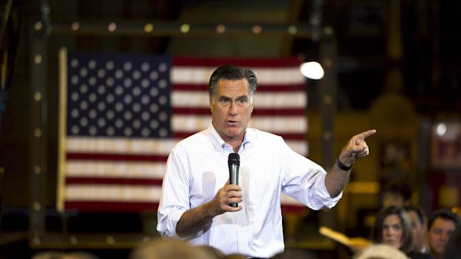 Republican presidential candidate, former Massachusetts Gov. Mitt Romney speaks at Charlotte Pipe and Foundry Company in Charlotte, N.C., Friday, May 11, 2012. (AP Photo/Jae C. Hong)