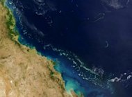 A NASA image of The Great Barrier Reef, which stretches more than 2,000 km (1,200 miles) along Australia's eastern coast. The Alpha Coal project is in the catchment of the Great Barrier Reef, and has caused concern about its environmental impact