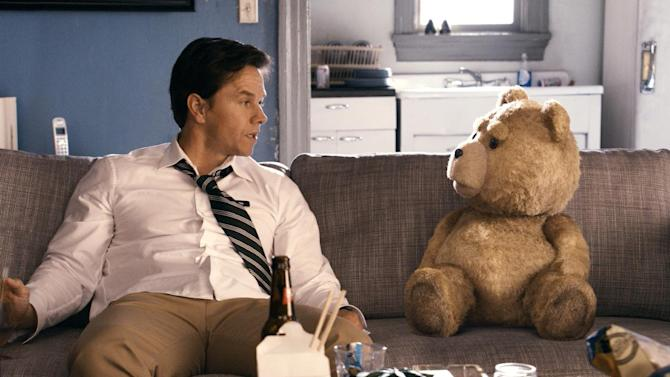 "This film image released by Universal Pictures shows Mark Wahlberg, left with the character Ted, voiced by Seth MacFarlane in a scene from ""Ted."" (AP Photo/Universal Pictures)"