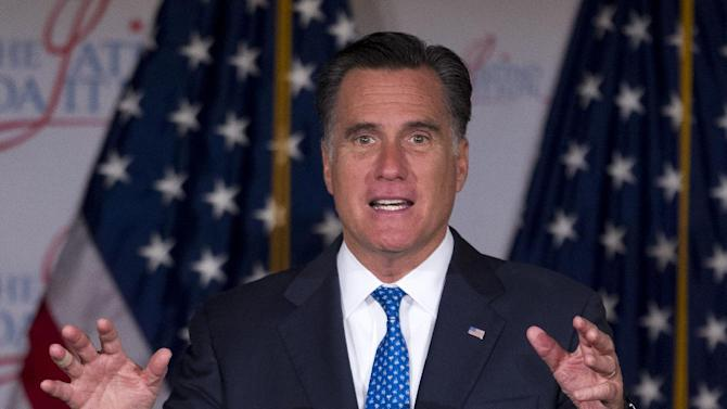 Republican presidential candidate, former Massachusetts Gov. Mitt Romney gestures while speaking at the Latino Coalition annual economic summit, Wednesday, May 23, 2012, at the U.S. Chamber of Commerce in Washington.  (AP Photo/Evan Vucci)