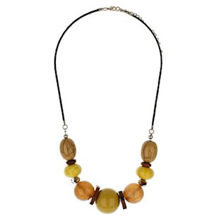 Wood and Mix Bead Necklace Evans: Fashion Trend: Mustard