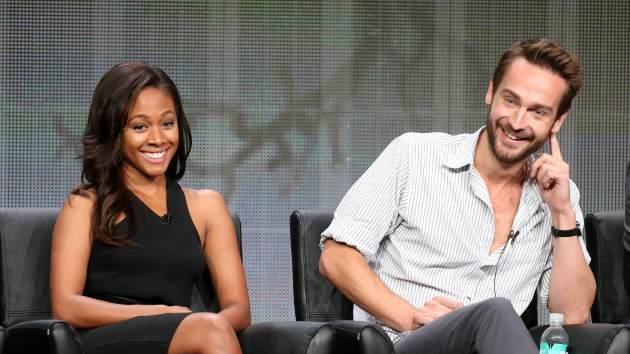 """Nicole Beharie and Tom Mison speak onstage during the """"Sleepy Hollow"""" panel discussion at the FOX portion of the 2013 Summer Television Critics Association tour - Day 9 at The Beverly Hilton Hotel on August 1, 2013 in Beverly Hills -- Getty Images"""