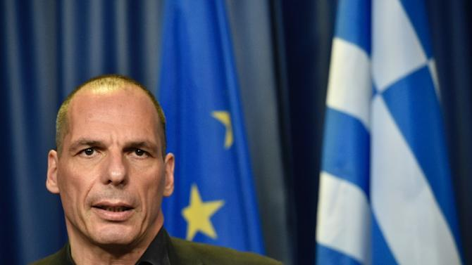 Greek Finance Minister Yanis Varoufakis gives a press conference during a Eurogroup meeting at the EU headquarters in Brussels on June 27, 2015