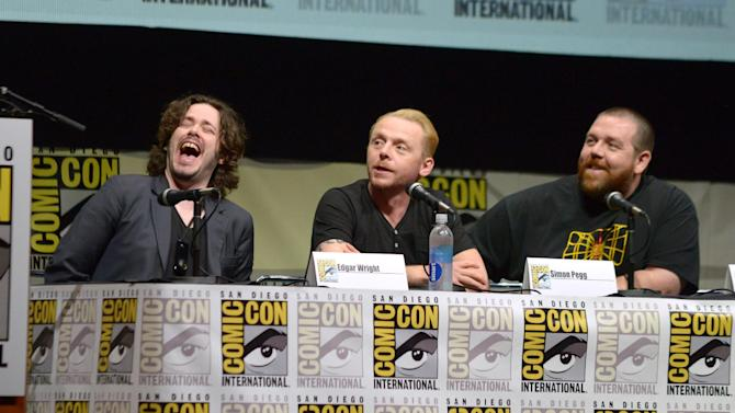 "From left, Edgar Wright, Simon Pegg, and Nick Frost attends ""The World's End"" panel on Day 3 of Comic-Con International on Friday, July 19, 2103, in San Diego, Calif. (Photo by Jordan Strauss/Invision/AP)"