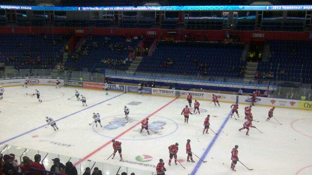 Good morning hockey fans! Warmups are underway at the Ufa Arena. Canada vs. USA. (Sunaya Sapurji)