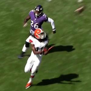 Cleveland Browns quarterback Brian Hoyer to Travis Benjamin for 43 yards