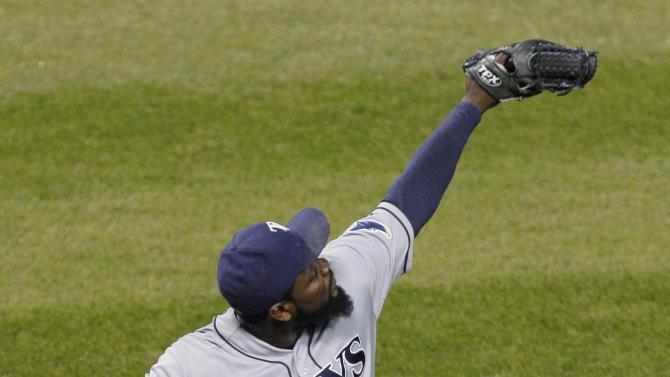 Tampa Bay Rays closer Fernando Rodney celebrates after the Rays defeated the Chicago White Sox 3-2 in a baseball game in Chicago, Thursday, Sept. 27, 2012. (AP Photo/Nam Y. Huh)