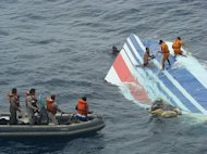 The Brazilian Navy recovers a huge part of the rudder of the Air France A330 aircraft that crashed into the mid-Atlantic Ocean in 2009. A final report by the French aviation authority BEA blames human and technical factors for the loss of the plane that crashed into the Atlantic Ocean killing 228 people in 2009. (AFP Photo/)