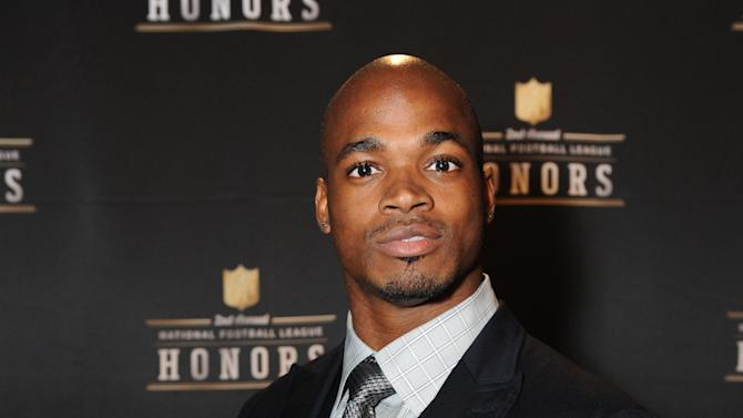 Adrian Peterson of the Minnesota Vikings at the 2nd Annual NFL Honors on Saturday, Feb. 2, 2013 in New Orleans. (Photo by Jordan Strauss/Invision/AP)