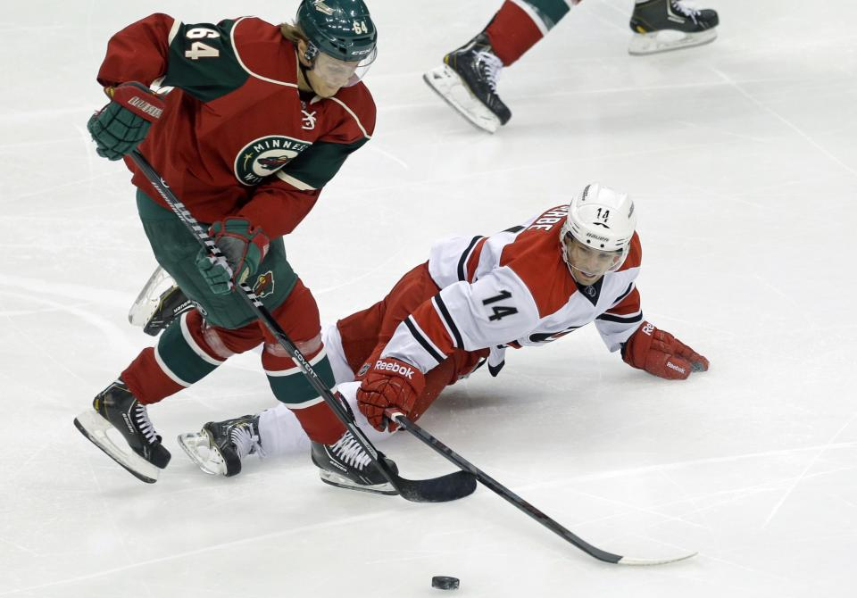 Goalies go down, and Wild beat Hurricanes 3-1