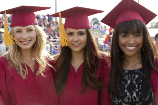 """Graduation"" -- Candice Accola as Caroline, Nina Dobrev as Elena, and Kat Graham as Bonnie"
