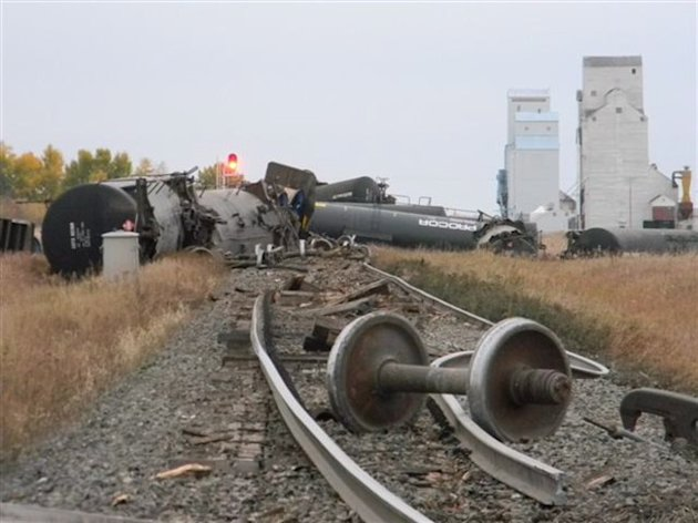 The aftermath of a train derailment in Landis, Sask., is seen on Wednesday, Sept. 25, 2013. THE CANADIAN PRESS/ho-RCMP
