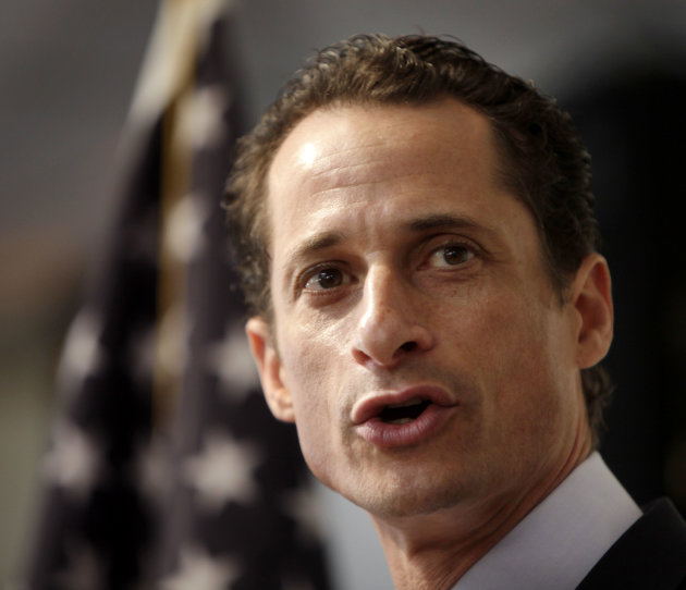 FILE - In this June 16, 2011 file photo, Anthony Weiner speaks at a news conference in New York. The Democratic ex-congressman who resigned over raunchy tweets said late Tuesday, May 21, 2013, that he