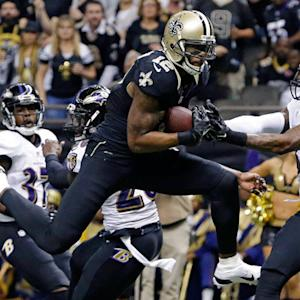 New Orleans Saints quarterback Drew Brees finds wide receiver Marques Colston for a 26-yard touchdown