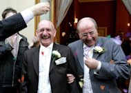 Roger Lewis (right) and Keith Wilmott Goodall leave a Brighton registry office in 2005 after becoming one of the first same-sex couples in England and Wales to form legal civil partnerships. Now Scotland plans to bring forward legislation allowing same-sex couples to marry, making it the first part of the UK to do so, the government announced