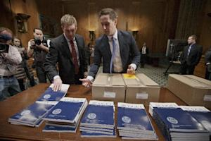 Copies of President Barack Obama's proposed fiscal…