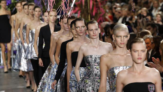 Models present creations as part of Christian Dior's ready-to-wear Spring/Summer 2014 fashion collection, presented Friday, Sept. 27, 2013 in Paris. (AP Photo/Christophe Ena)