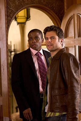 "Dule Hill and James Roday in ""Psych."""