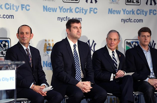 IMAGE DISTRIBUTED FOR MANCHESTER CITY FC - From Left, Don Garber, Ferran Soriano, CEO of Manchester City FC, and Mayor Bloomberg seen at a press conference launching a new football club, New York City