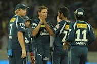 Deccan Chargers bowler Dale Steyn (3L) celebrates a wicket with teammates during their Indian Premier League (IPL) match against Royal Challengers Bangalore in Hyderabad on May 20, 2012. Cash-strapped IPL side Deccan Chargers on Thursday lost another attempt to remain in the lucrative competition after a court backed their expulsion