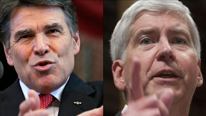 This combination of undated file photos shows Republican Governors Rick Perry, left, of Texas and Rick Snyder, of Michigan. After winning majorities in more than half the statehouses on principled platforms of making government smaller, Perry, Snyder and other and Republicans who control a majority of the state capitols in the United States are facing a philosophical dilemma _ what to do with all the money where an improving economy has suddenly created a surplus in revenues. (AP Photo/File)