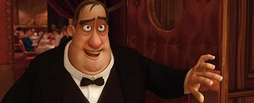 Mustafa (voiced by John Ratzenberger ) in Disney's presentation of Pixar's Ratatouille