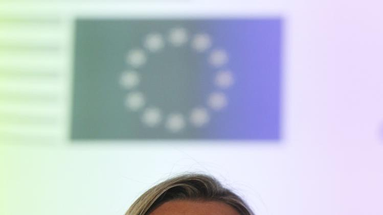 Mogherini looks on during a news conference at the end of an informal meeting of the EU Foreign Affairs Ministers in Milan