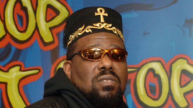 """FILE - This Feb. 28, 2006 file photo shows hip hop DJ pioneer Afrika Bambaataa speaking at a news conference to  launch """"Hip-Hop Won't Stop: The Beat, The Rhymes, The Life,"""" the first ever hip-hop initiative at the Smithsonian's National Museum of American History in New York. Bambaataa has been appointed to a three-year term as a visiting scholar at Cornell University. The appointment announced Tuesday, Aug. 14, 2012, was made by Cornell University Library's Hip Hop Collection in conjunction with the Ivy League school's music department. (AP Photo/Henny Ray Abrams, file)"""
