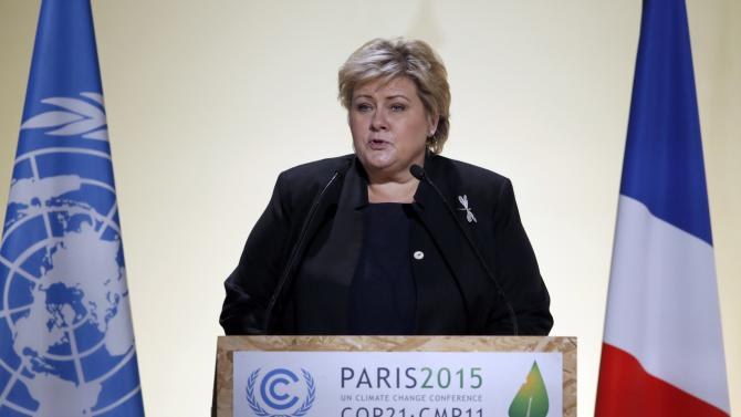 Norway's Prime Minister Solberg delivers a speech for the opening day of the World Climate Change Conference 2015 (COP21) at Le Bourget, near Paris