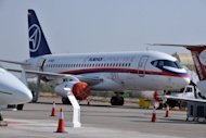 A Sukhoi Superjet 100 jet on display during the India Aviation show at Hyderabad's Begumpet airport in March 2012. The Sukhoi Superjet 100 -- the Russian jet which has gone missing in Indonesia -- is a brand new passenger plane built by Russia in a bid to lift its civil aviation industry from a post-Soviet crisis