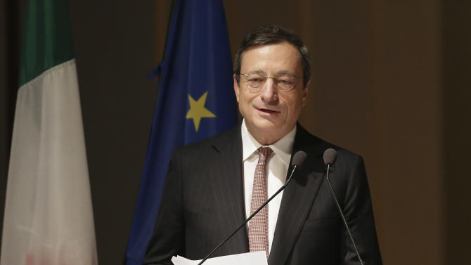 European Central bank President Mario Draghi delivers his speech during the opening ceremony of the academic year of the Bocconi University in Milan, Italy, Thursday, Nov. 15, 2012. The 17-country eurozone has fallen back into recession for the first time in three years as the fallout from the region's financial crisis was felt from Amsterdam to Athens. And with surveys pointing to increasingly depressed conditions across the eurozone at a time of high unemployment in many countries, there are fears that the recession will deepen, and make the debt crisis _ calmer of late _ even more difficult to handle.  (AP Photo/Antonio Calanni)