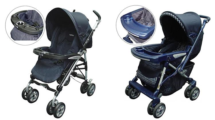 This photo provided by the U.S. Consumer Product Safety Commission shows strollers that are being recalled due to a risk of entrapment and strangulation. The recall involves two different older versions of the Peg Perego strollers: Venezia, shown at right; and Pliko-P3, left, manufactured between January 2004 and September 2007, in a variety of colors. (AP Photo/U.S. Consumer Product Safety Commission)