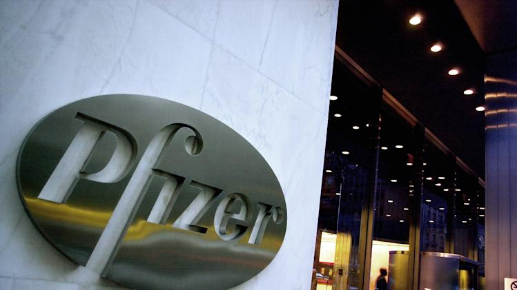 FILE - In this April 12, 2005 file photo, the world headquarters of Pfizer Inc. is seen in New York. Pfizer Inc. is recalling 1 million packets of birth control pills due to a packaging error that could raise the risk of an accidental pregnancy by leaving women with an inadequate dose, Wednesday, Feb. 1, 2012. (AP Photo/Mark Lennihan, File)