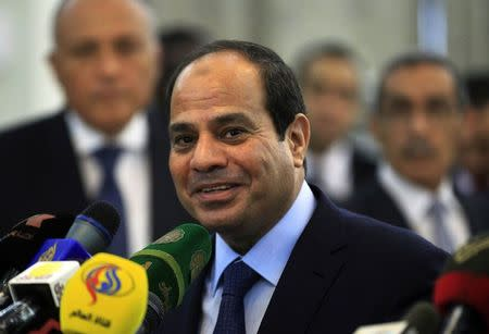 Egypt's President Sisi speaks during joint news conference with Sudan's President Bashir in Khartoum